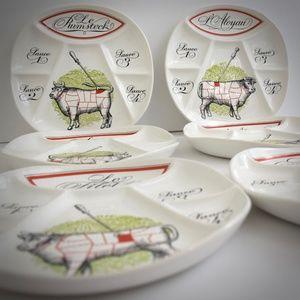 Porcelaine D'Auteuil Vintage Fondue Plates White 6